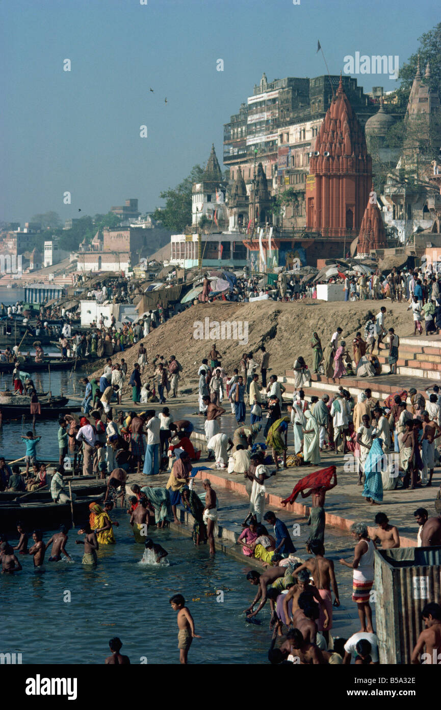 Ghats on the River Ganges, Varanasi, Uttar Pradesh state, India - Stock Image