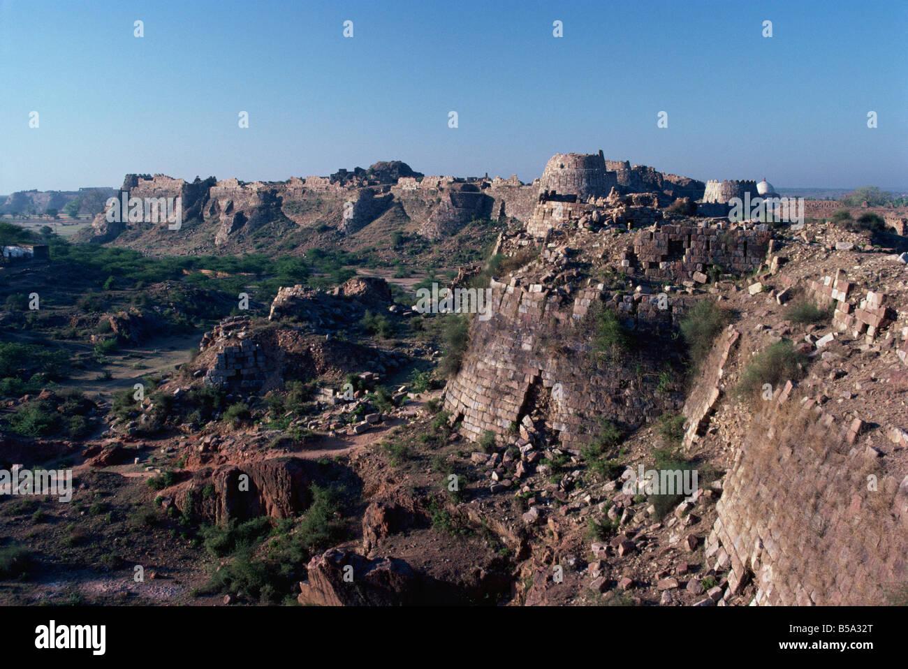 Ramparts, Tughlaqabad, Haryana state, India - Stock Image