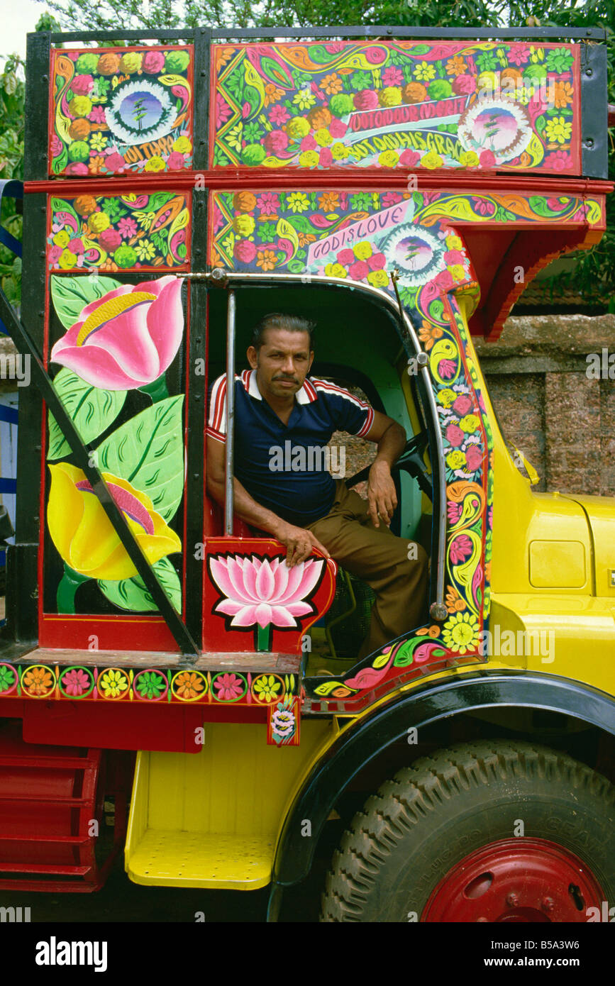 Commercial trucks are decorated as an art form south India India Asia - Stock Image