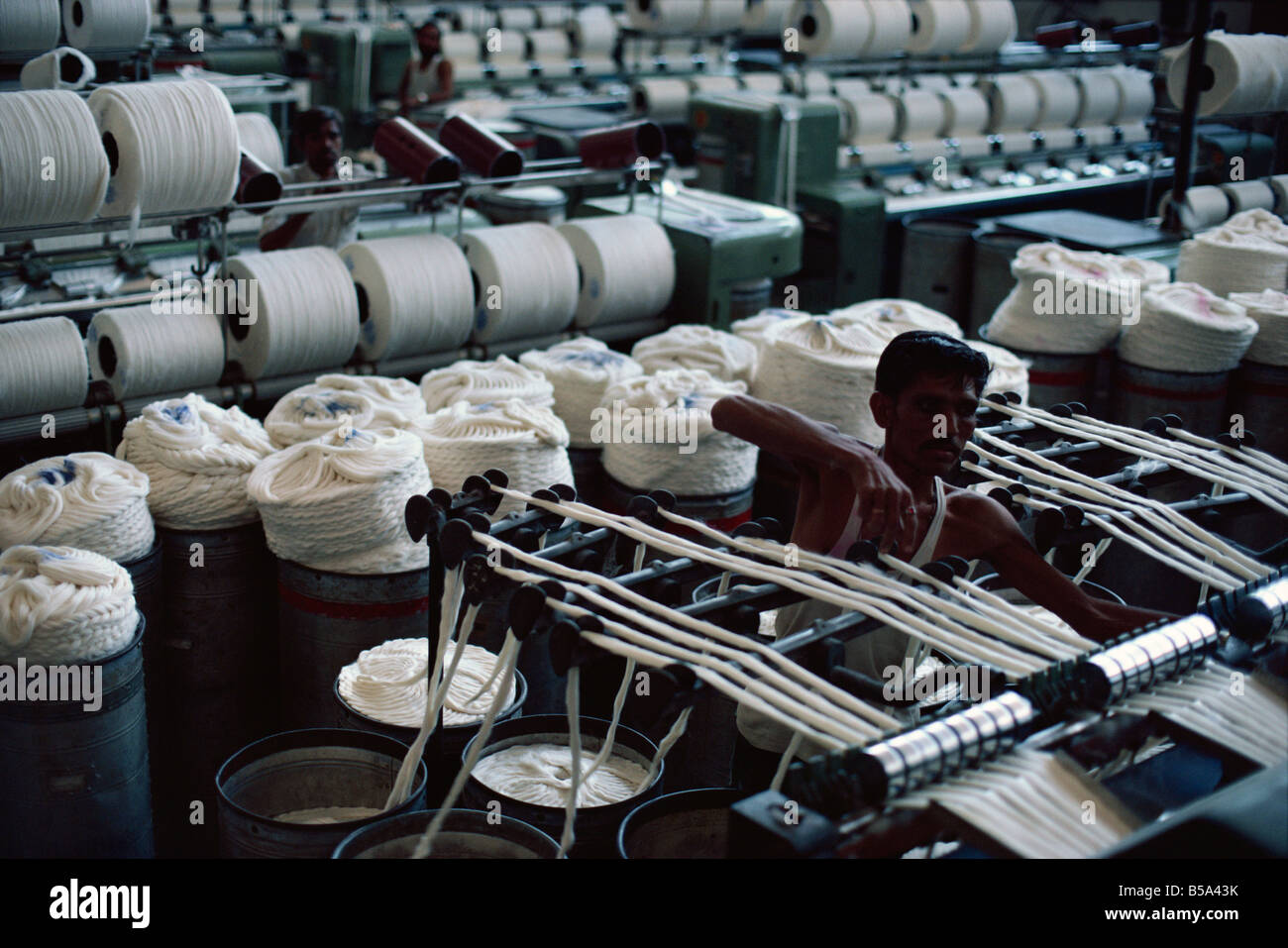 Modernised cotton mill in Ahmedabad the Manchester of the East Gujarat India Asia - Stock Image