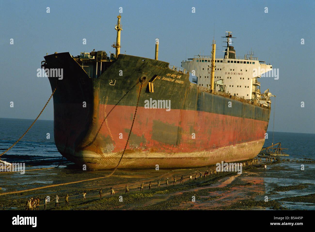 Ship breakers yard Alang Gujarat India Asia - Stock Image