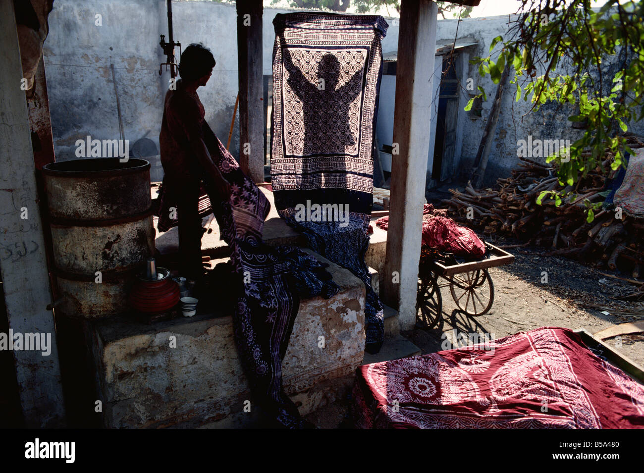 Batik dyeing Mandui Kutch district Gujarat state India Asia - Stock Image