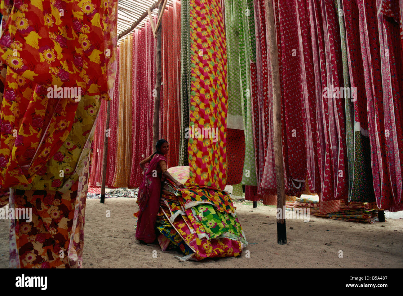 Screen print textiles Ahmedabad Gujarat India Asia - Stock Image