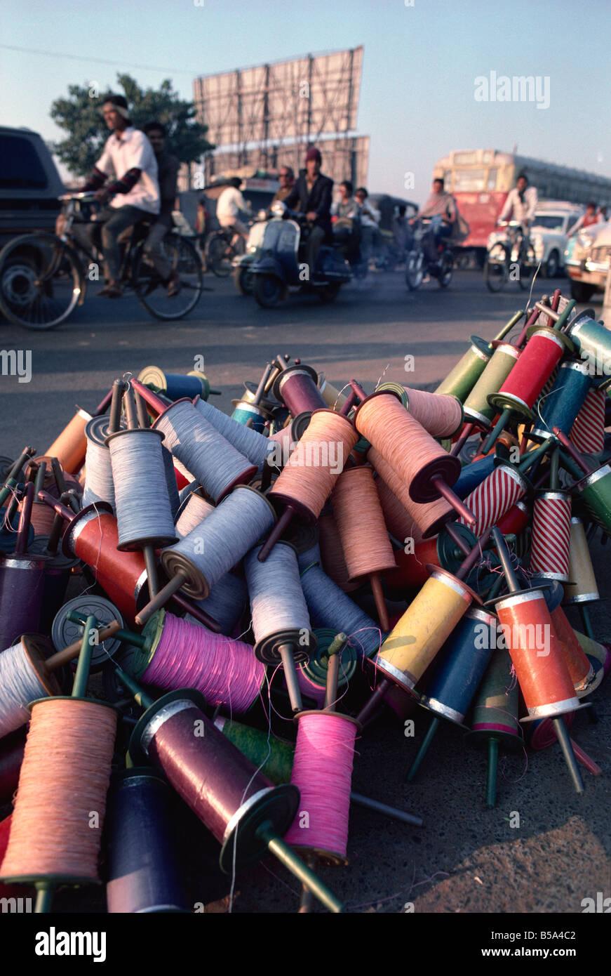 Kite spools Kite Festival in January Ahmedabad Gujarat state India Asia - Stock Image
