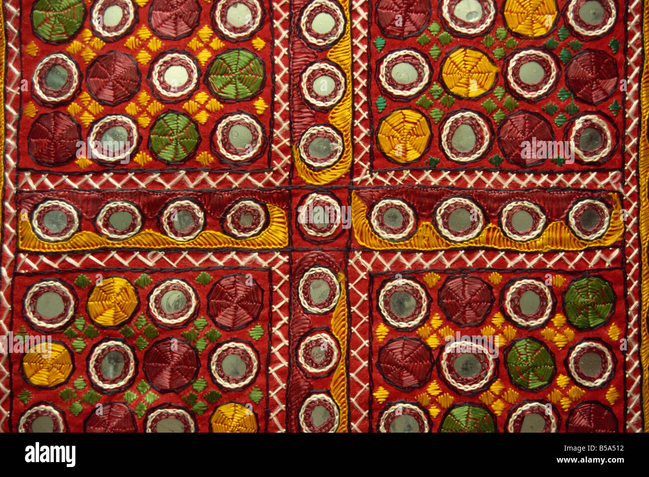 Close-up of Rajasthani embroidery, Rajasthan state, India Stock Photo
