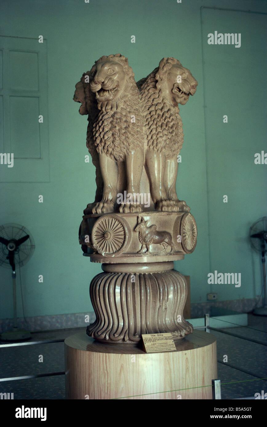 Ashoka Lion, Sarnath Museum, near Varanasi (formerly Benares), Uttar Pradesh State, India Stock Photo