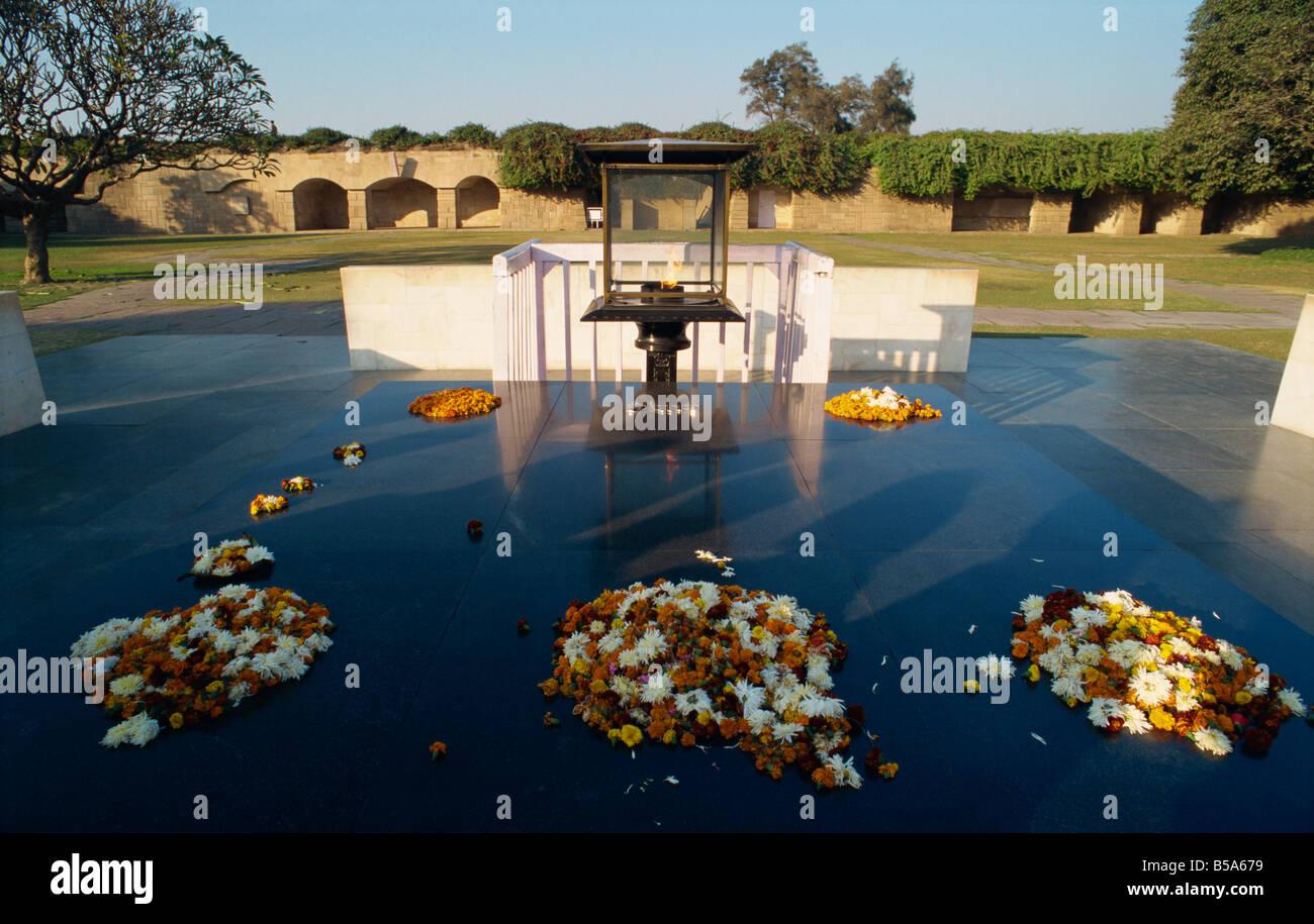 Raj Ghat the site of Mahatma Gandhi s cremation Delhi India Asia - Stock Image