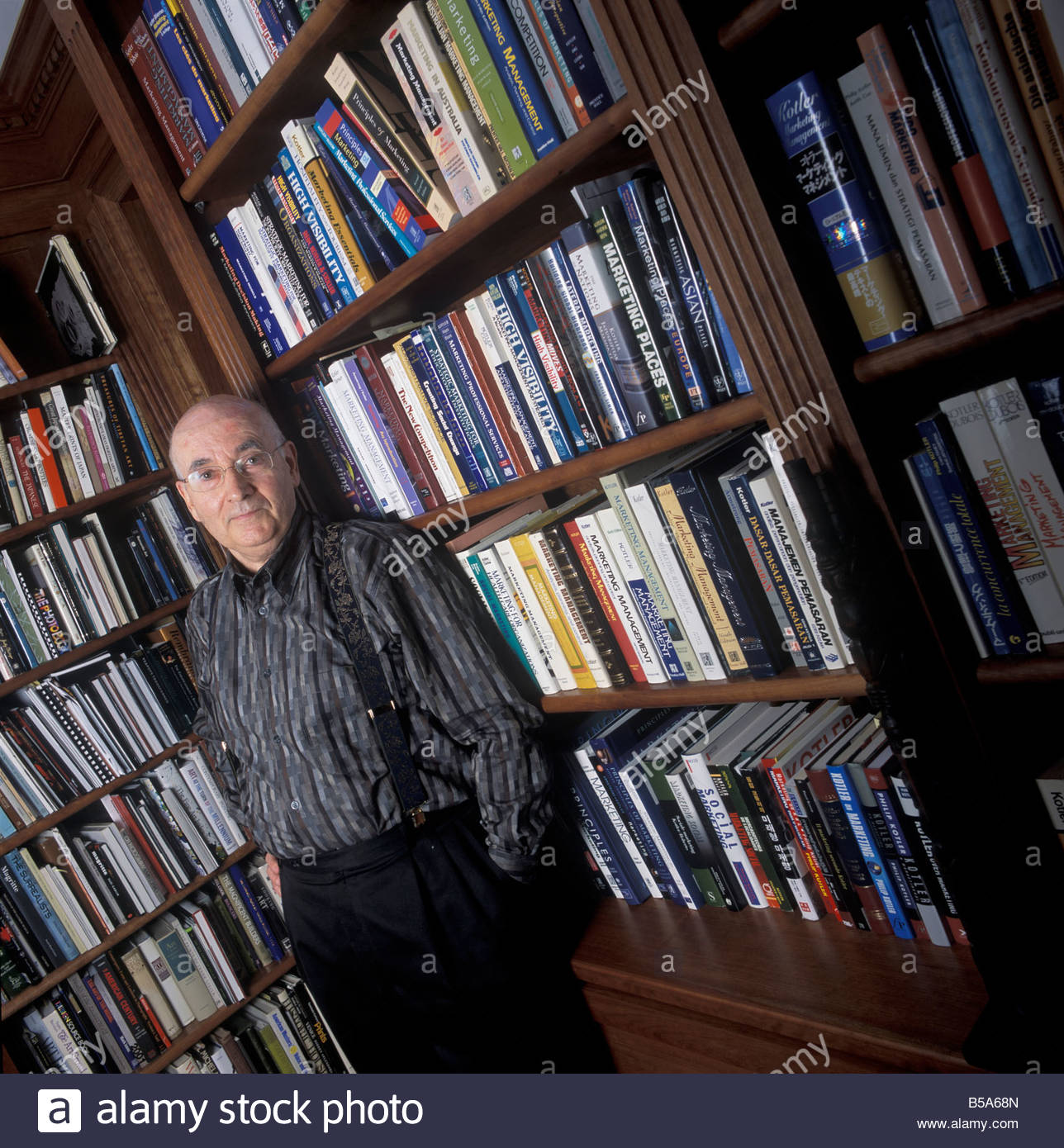 Philip Kotler Marketing Consultant At Home With His Books Stock Photo Alamy
