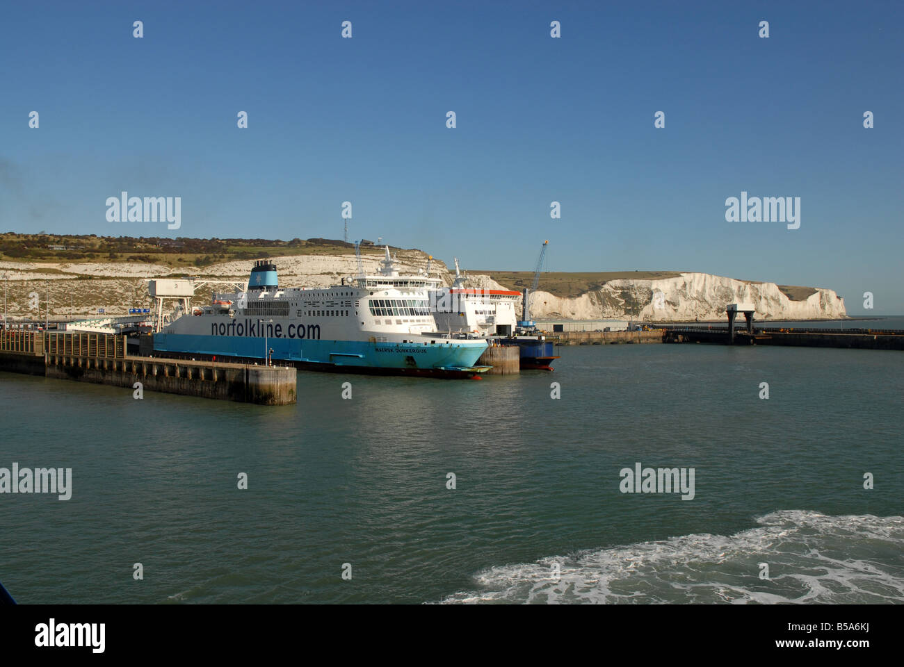 The Port of Dover and the White Cliffs of Dover England Stock Photo