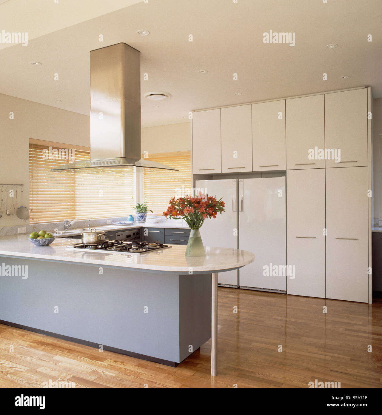 Stainless steel extractor above long pale blue island unit in modern stainless steel extractor above long pale blue island unit in modern kitchen with american fridge freezer in large fitted units workwithnaturefo