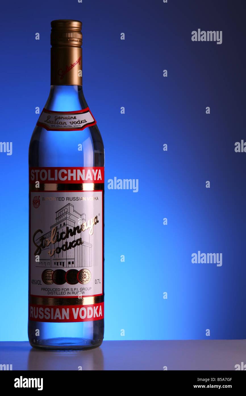 A bottle of Stolichnaya vodka on a bar - Stock Image