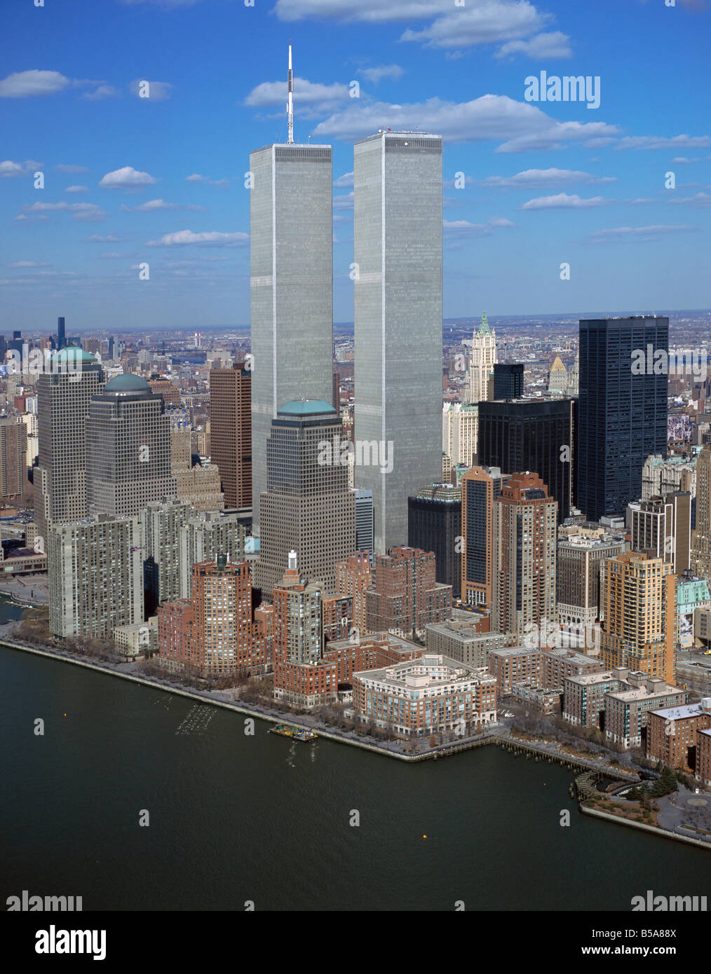 aerial view above twin towers World Trade Center New York city from Hudson river - Stock Image