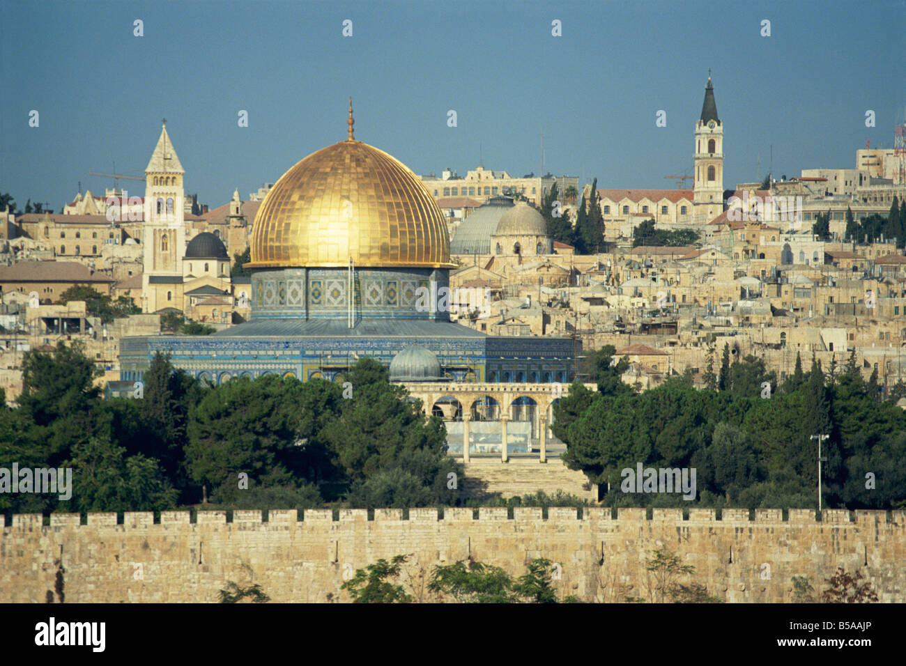 Dome of the Rock and Temple Mount from Mount of Olives, UNESCO World Heritage Site, Jerusalem, Israel, Middle East - Stock Image
