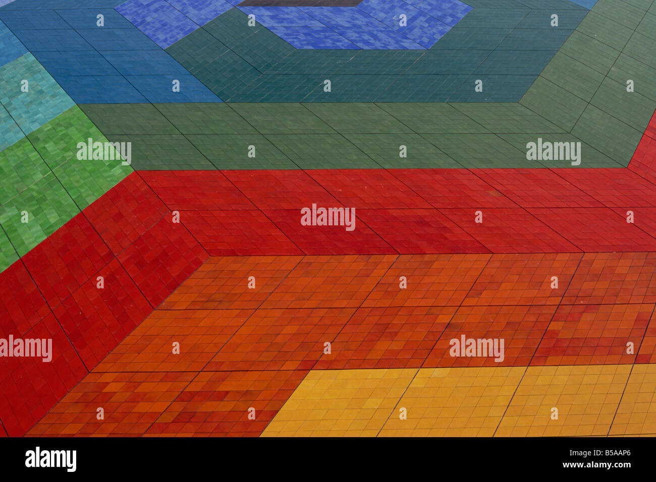 Coloured tiled roof of Conference Centre, Monte Carlo, Monaco, Europe - Stock Image