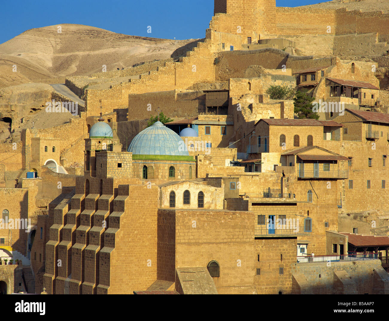 Buildings at the Mar Saba Orthodox Monastery near Bethlehem, in the Judean Desert, Israel, Middle East - Stock Image