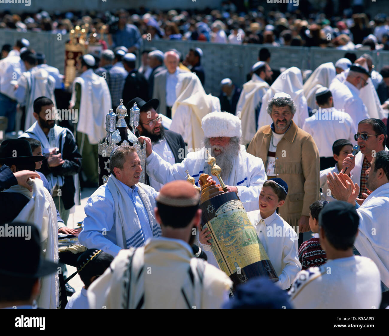 A Bar Mitzvah celebration near the Wailing Wall, Jerusalem, Israel, Middle East - Stock Image