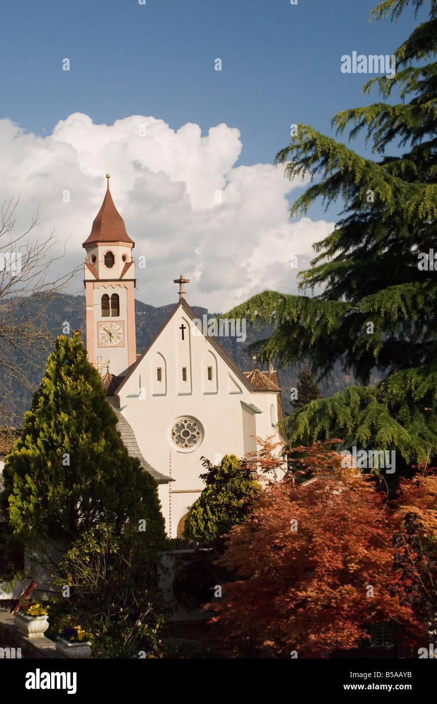 Spring colours, Church of St. John the Baptist, Dorf Tyrol, Sud Tyrol, Italy, Europe - Stock Image