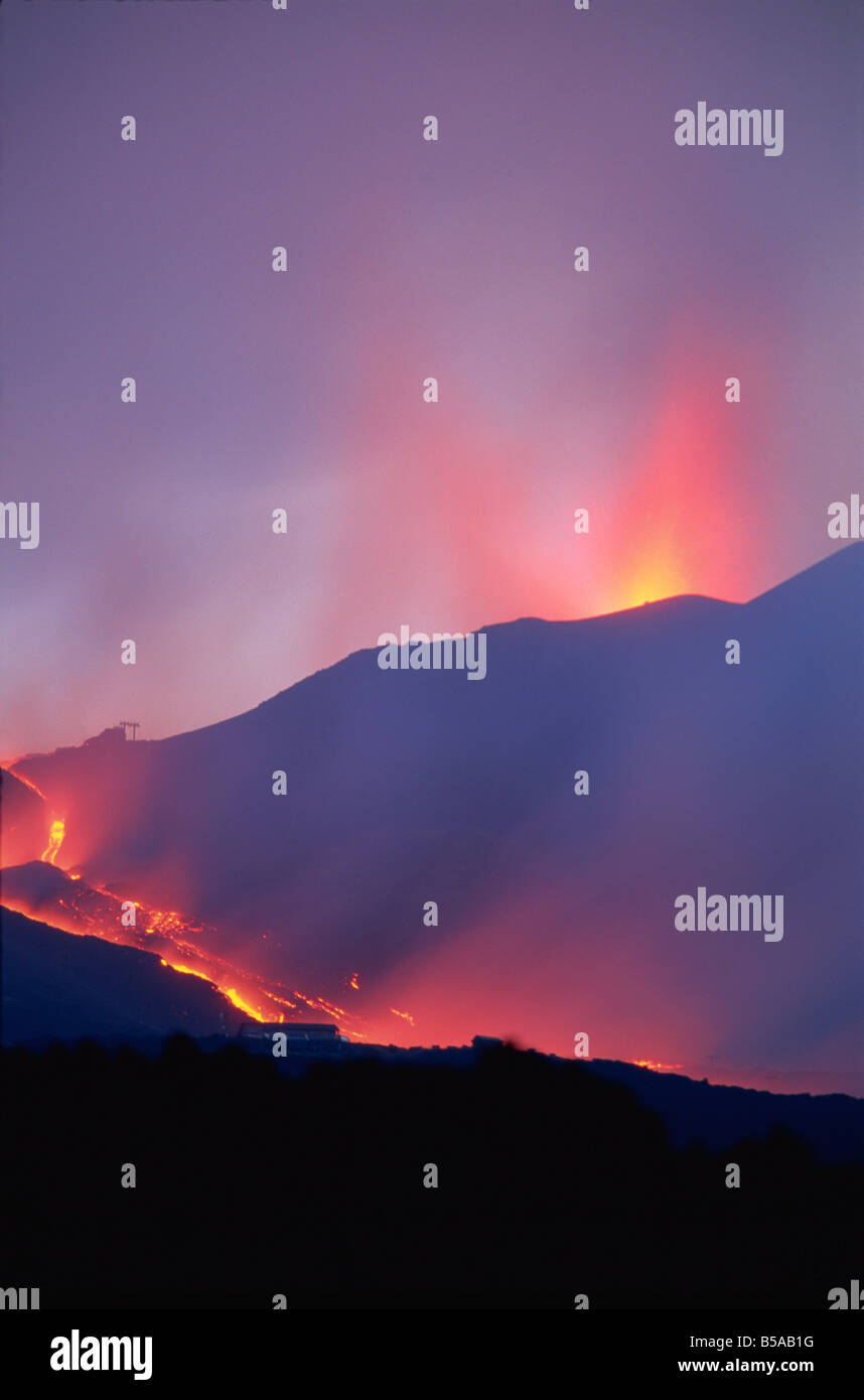 Lava flows during eruption of Mount Etna, Sicily, Italy, Europe - Stock Image
