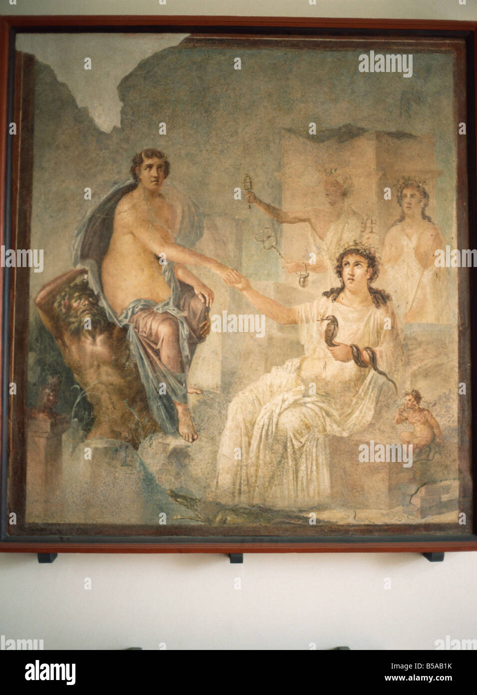 Fresco from Pompeii of Lo received by Isis at Canopus Archaeological Museum Naples Italy Europe Stock Photo