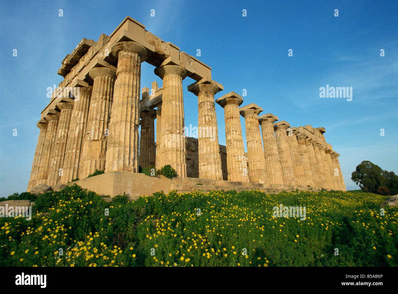 Temple of Hera dating from the 5th century BC Selinunte Sicily Italy Europe - Stock Image