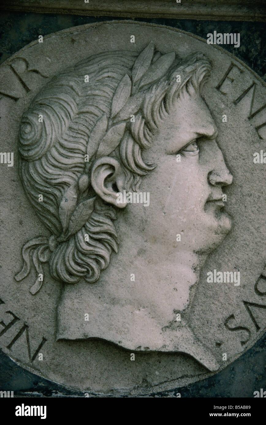 Emperor Nero in marble, Certosa di Pavia, Lombardy, Italy, Europe - Stock Image