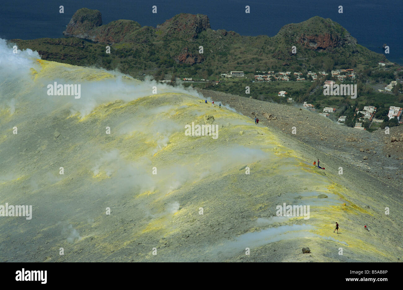 Volcanic steam issuing from sulphurous fumaroles at the rim of the Gran Cratere, Vulcano Island, Aeolian Islands, - Stock Image