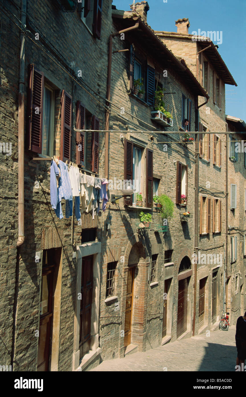 Houses on a narrow street in the town of Urbino Marche Italy S Terry - Stock Image