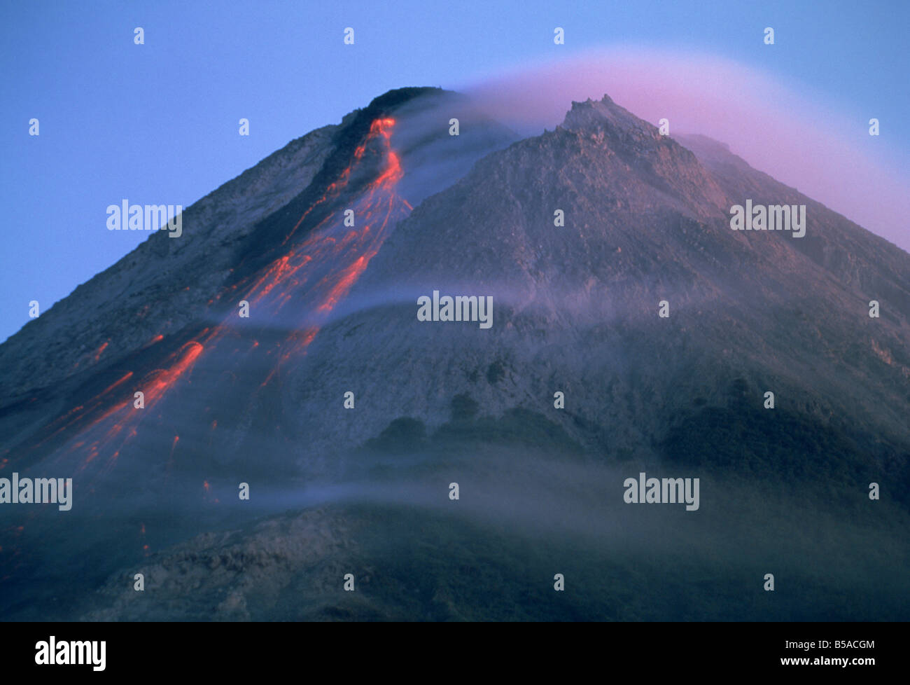 Eruption of Gunung Merapi, a highly active volcano near Yogyakarta, Java, Indonesia, Southeast Asia - Stock Image