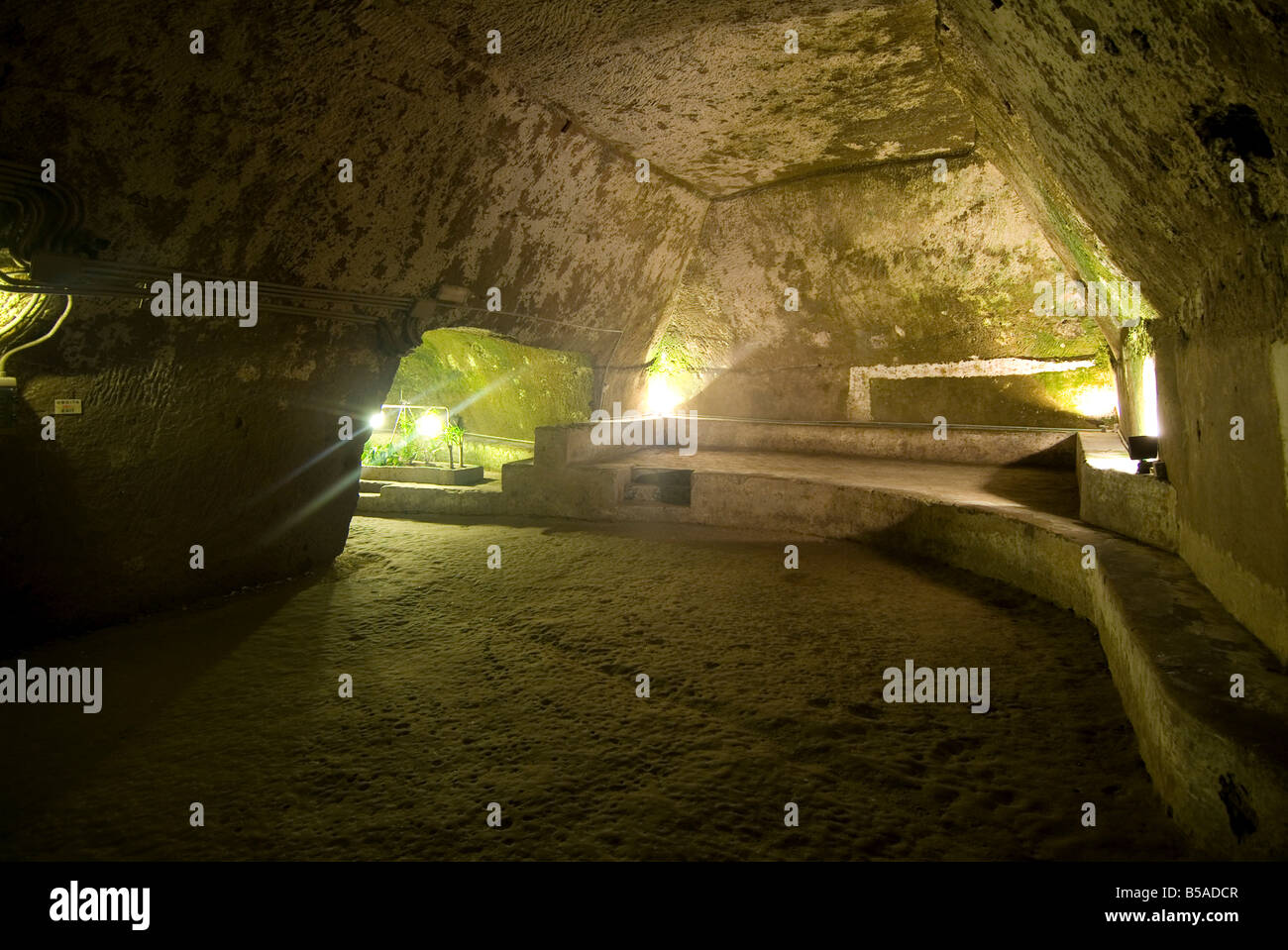 Subterranean Naples, part of an ancient Greek underground water cistern system, now open to tourists, Campania, - Stock Image