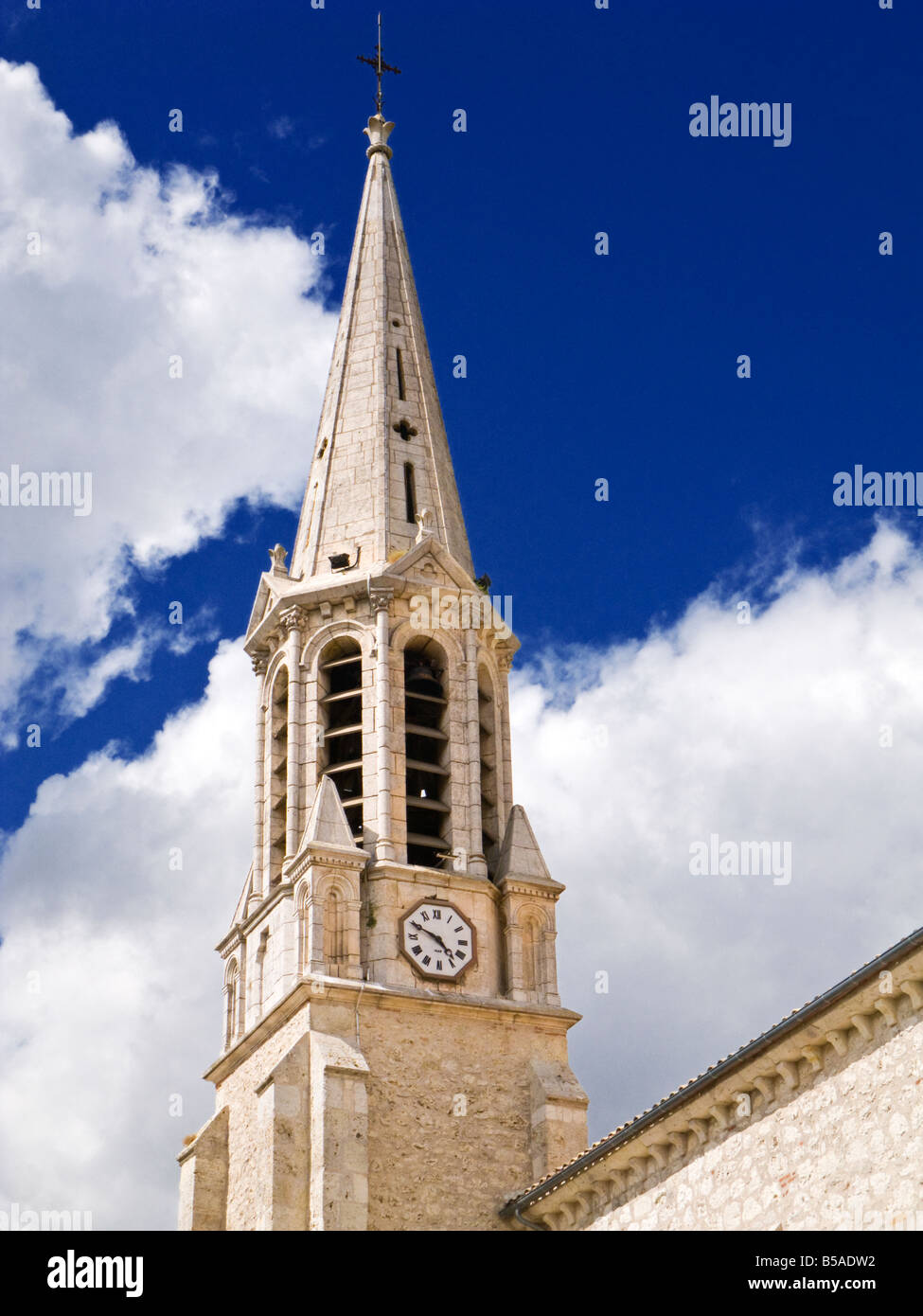 Church Steeple Bell Tower And Clock France Europe Stock