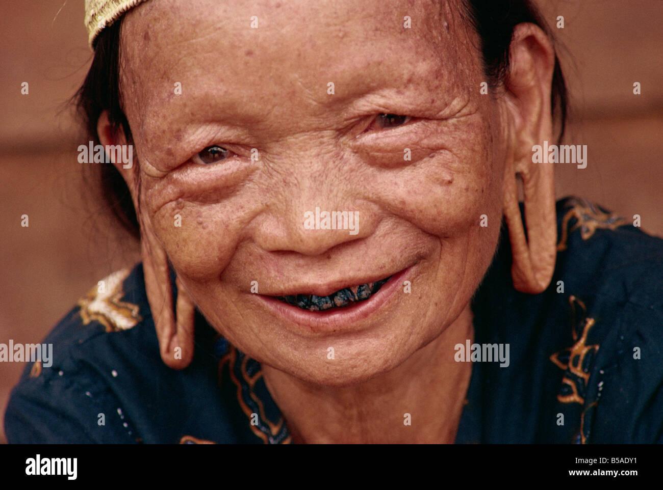 Old Dyak woman, Kalimantan, Indonesia, Southeast Asia - Stock Image