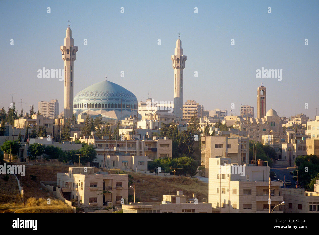 Abdullah Mosque and the Amman skyline at dusk Jordan Middle East - Stock Image