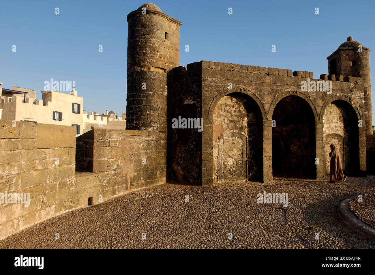 Skala of the Kasbah, a mighty crenellated bastion, Essaouira, Morocco, Africa - Stock Image