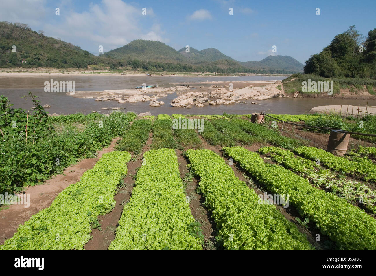 Mekong and Khan Rivers, Luang Prabang, Laos, Indochina, Southeast Asia - Stock Image