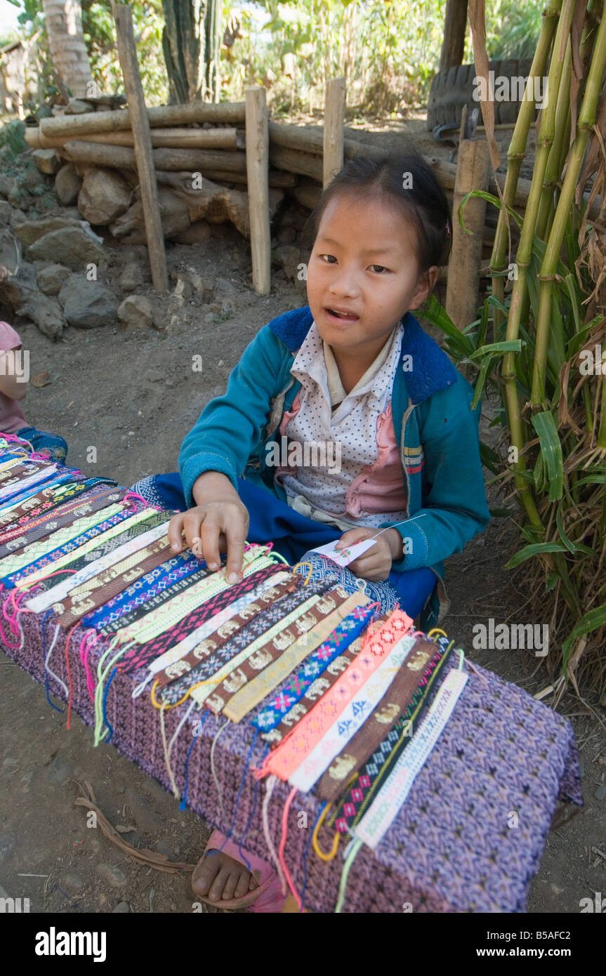 Hmong tribal village girls selling handicrafts, Luang Prabang, Laos, Indochina, Southeast Asia Stock Photo