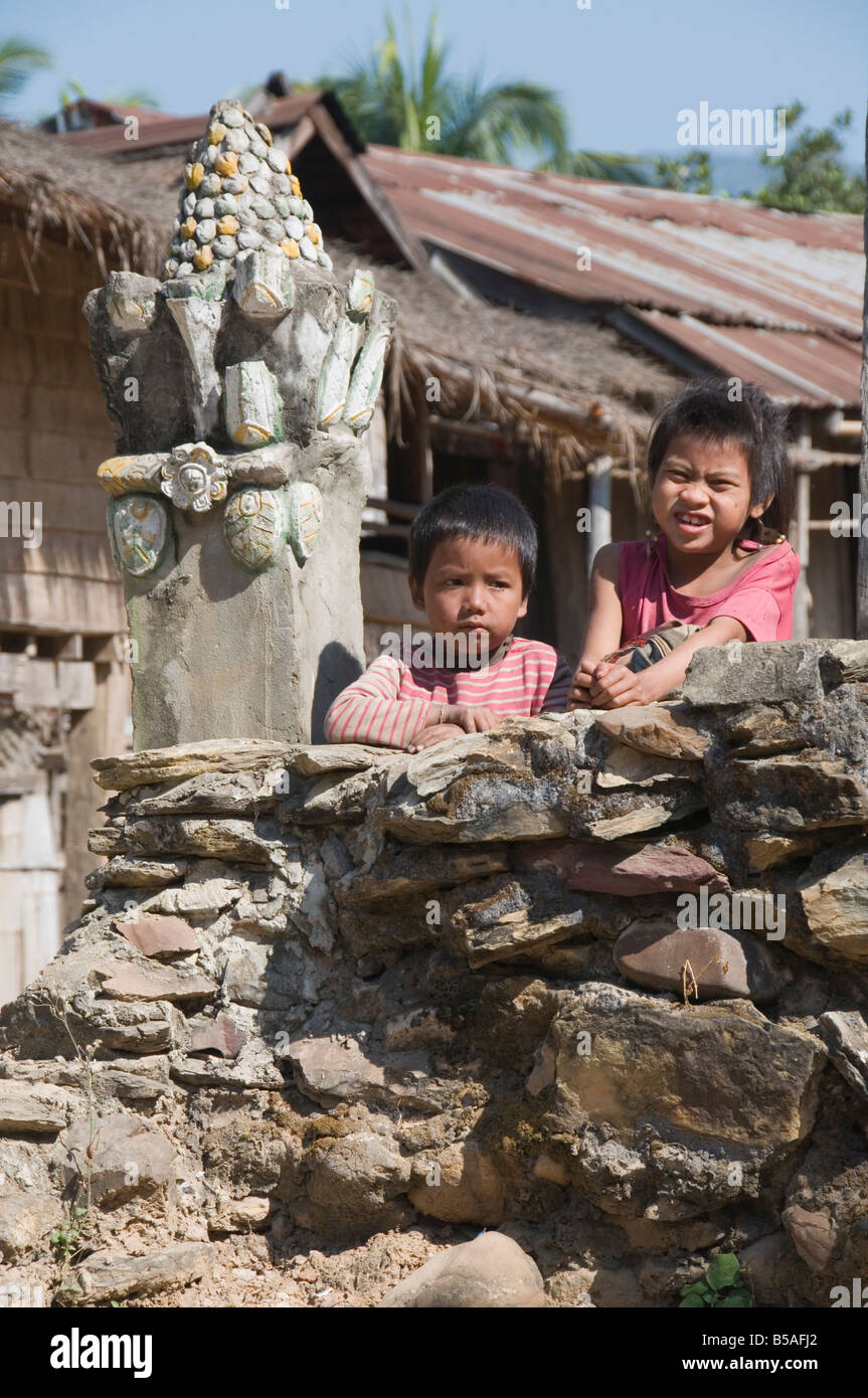 Had Tur, a Lao Lua village, near Pakbang, North Laos, Indochina, Southeast Asia - Stock Image