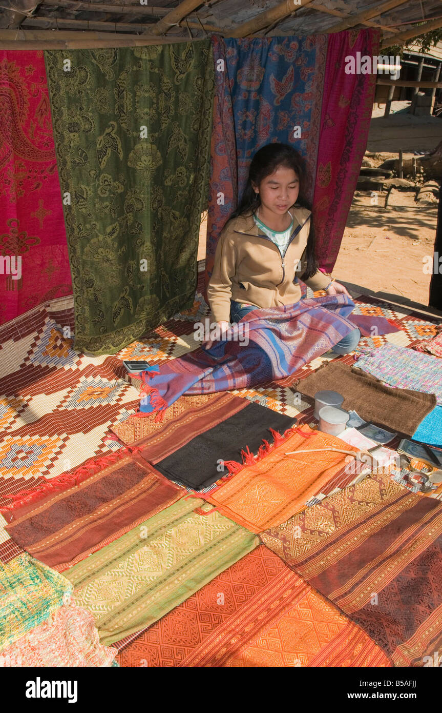 Silk fabrics, Had Tur, a Lao Lua village, near Pakbang, North Laos, Indochina, Southeast Asia - Stock Image