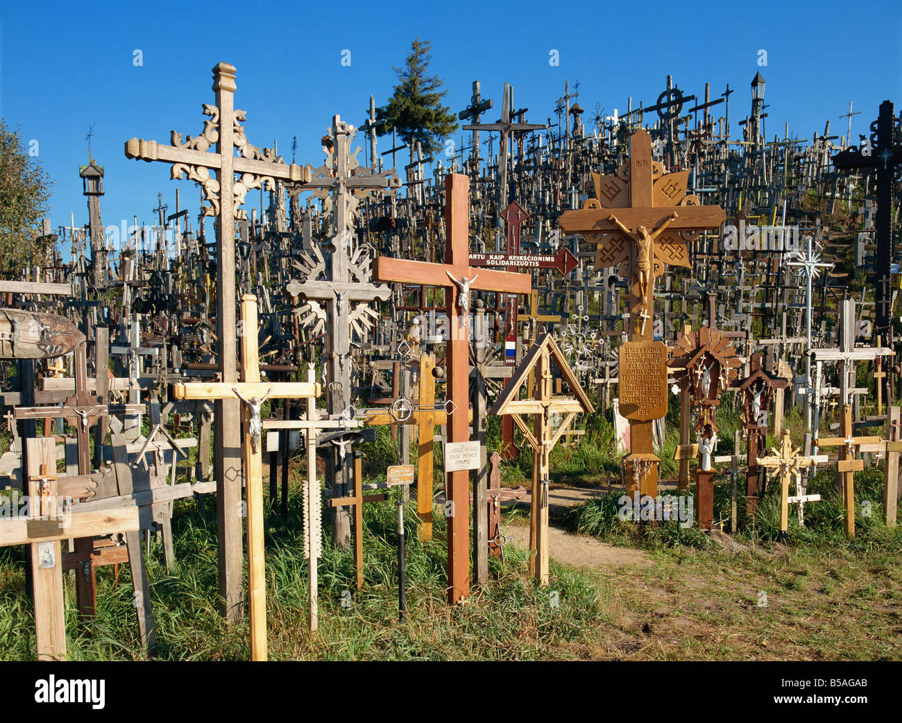Kryziu Kalnas (Hill of Crosses), in the Siauliai area of Lithuania, Baltic States, Europe Stock Photo