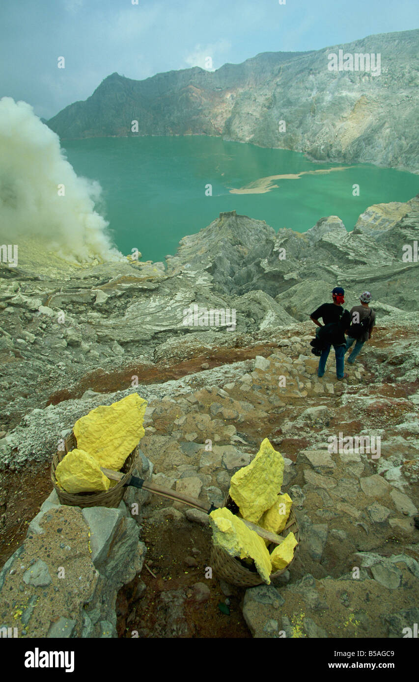 The crater and crater lake of Gunung Ijen in east Java, Indonesia, Southeast Asia - Stock Image