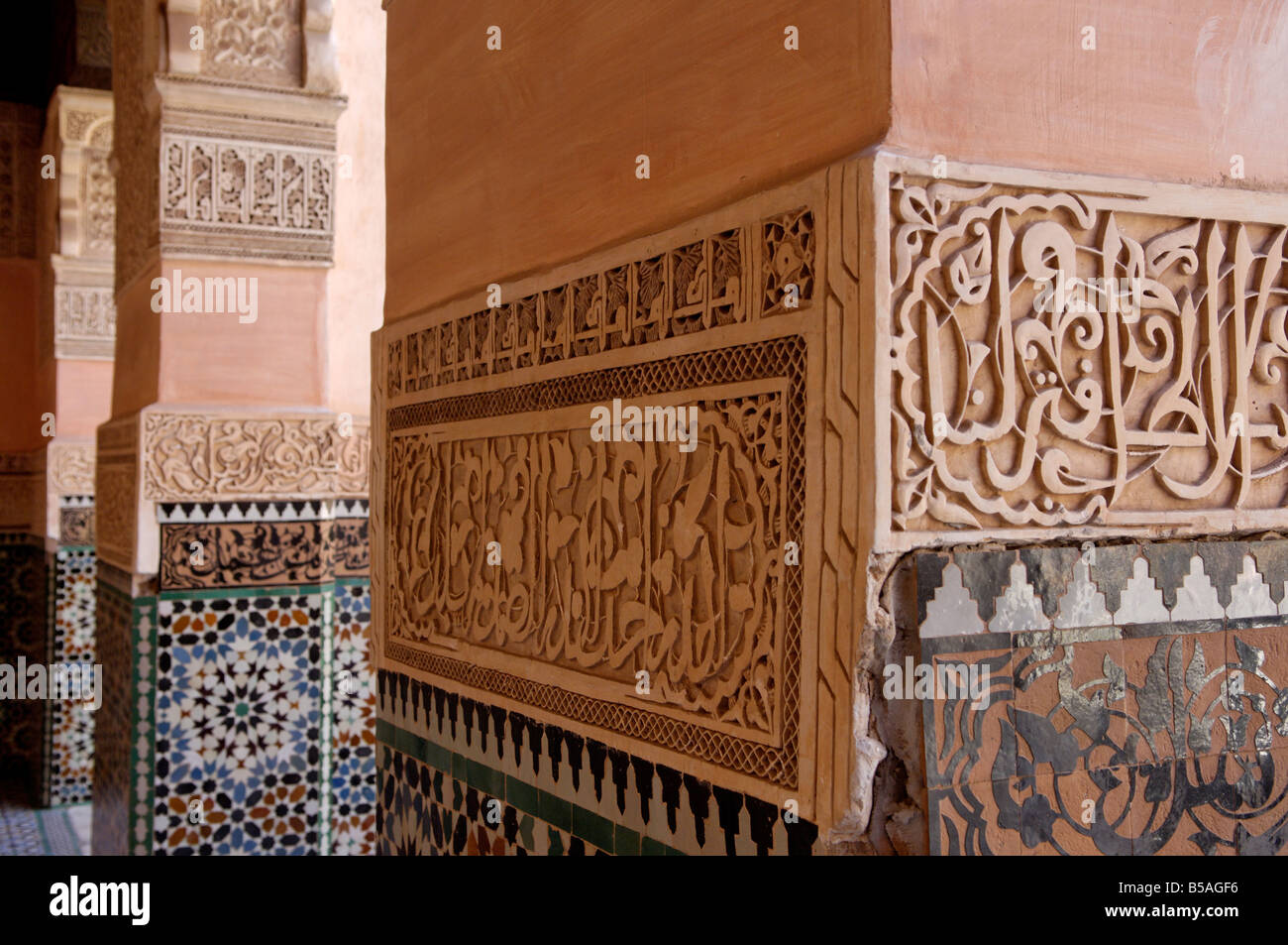 The Medersa Ben Youssef, richly decorated in marble, carved wood and plasterwork, Medina, Marrakesh, Morroco, Africa Stock Photo