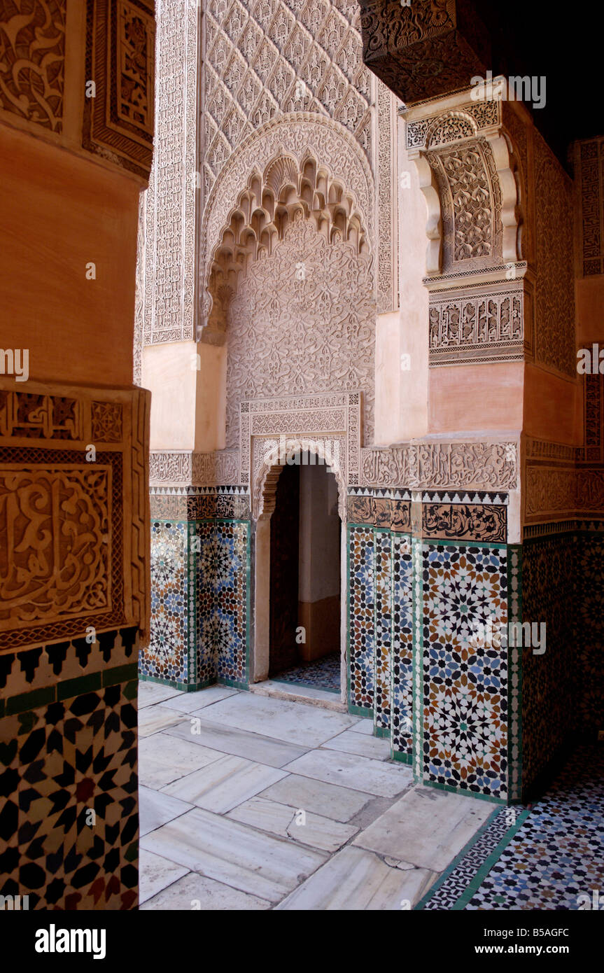 The Medersa Ben Youssef, richly decorated in marble, carved wood and plasterwork, Medina, Marrakesh, Morroco, Africa - Stock Image