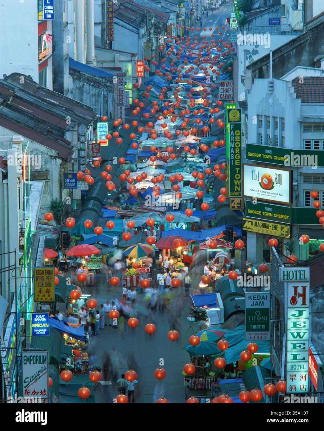 Elevated view of night market Jalan Petaling Chinatown Kuala Lumpur Malaysia Southeast Asia Asia Stock Photo