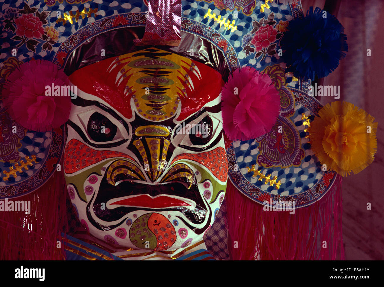 Papier mache mask Hungry Ghost Penang Malaysia Southeast Asia Asia - Stock Image