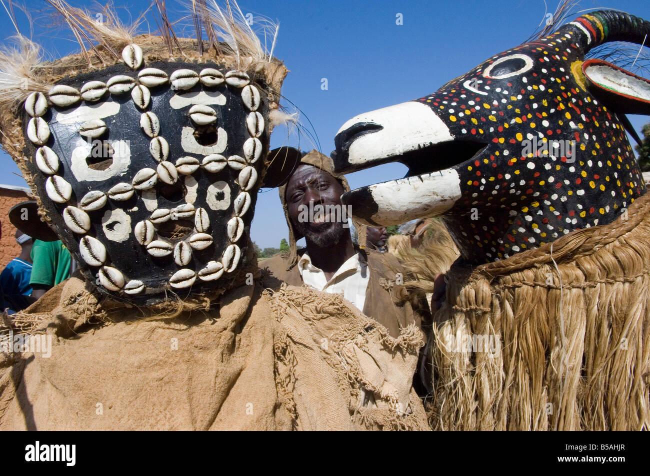 Senoufo masks at festivities, Loulouni Village, Sikasso area, Mali, Africa - Stock Image