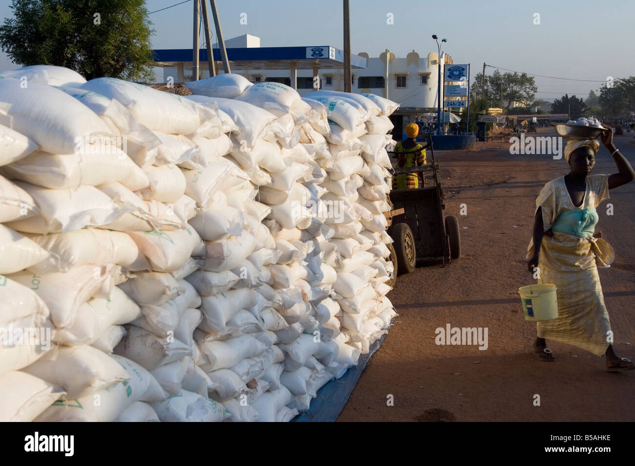 Salt sacks in the market, Sikasso, Mali, Africa Stock Photo