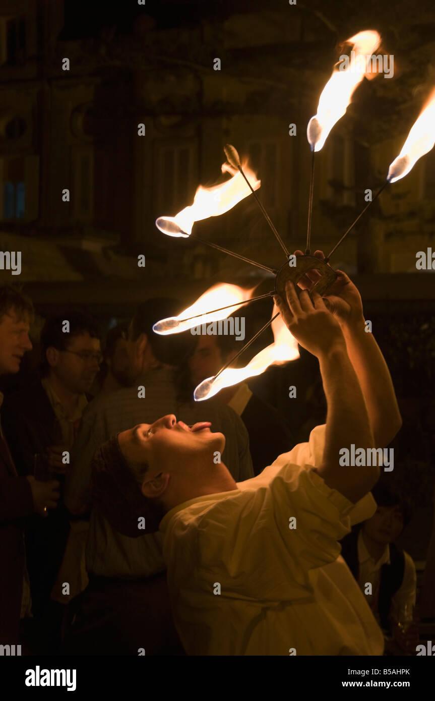 Fire eater, Malta, Europe - Stock Image