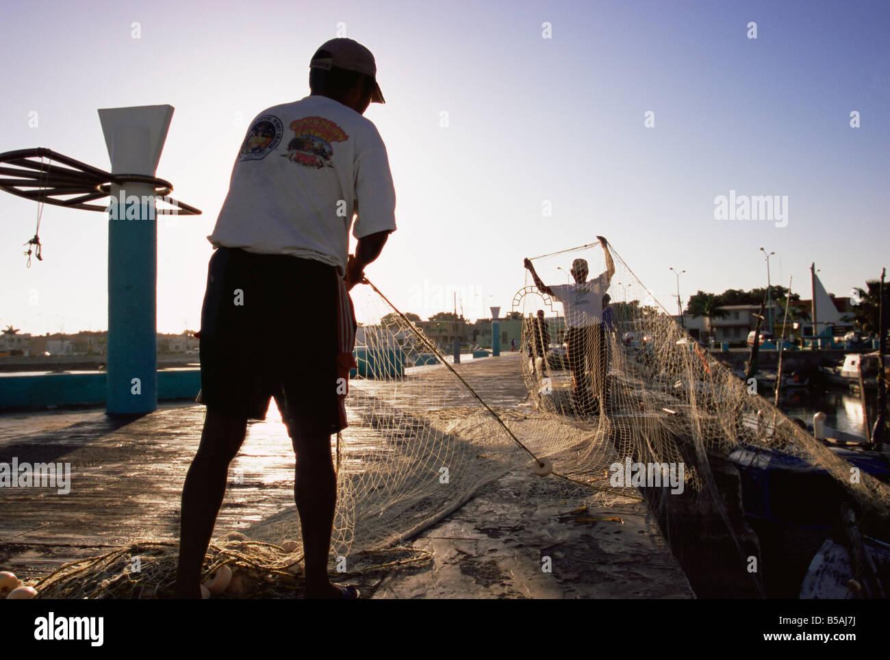 Fishermen, Campeche, Mexico, North America Stock Photo