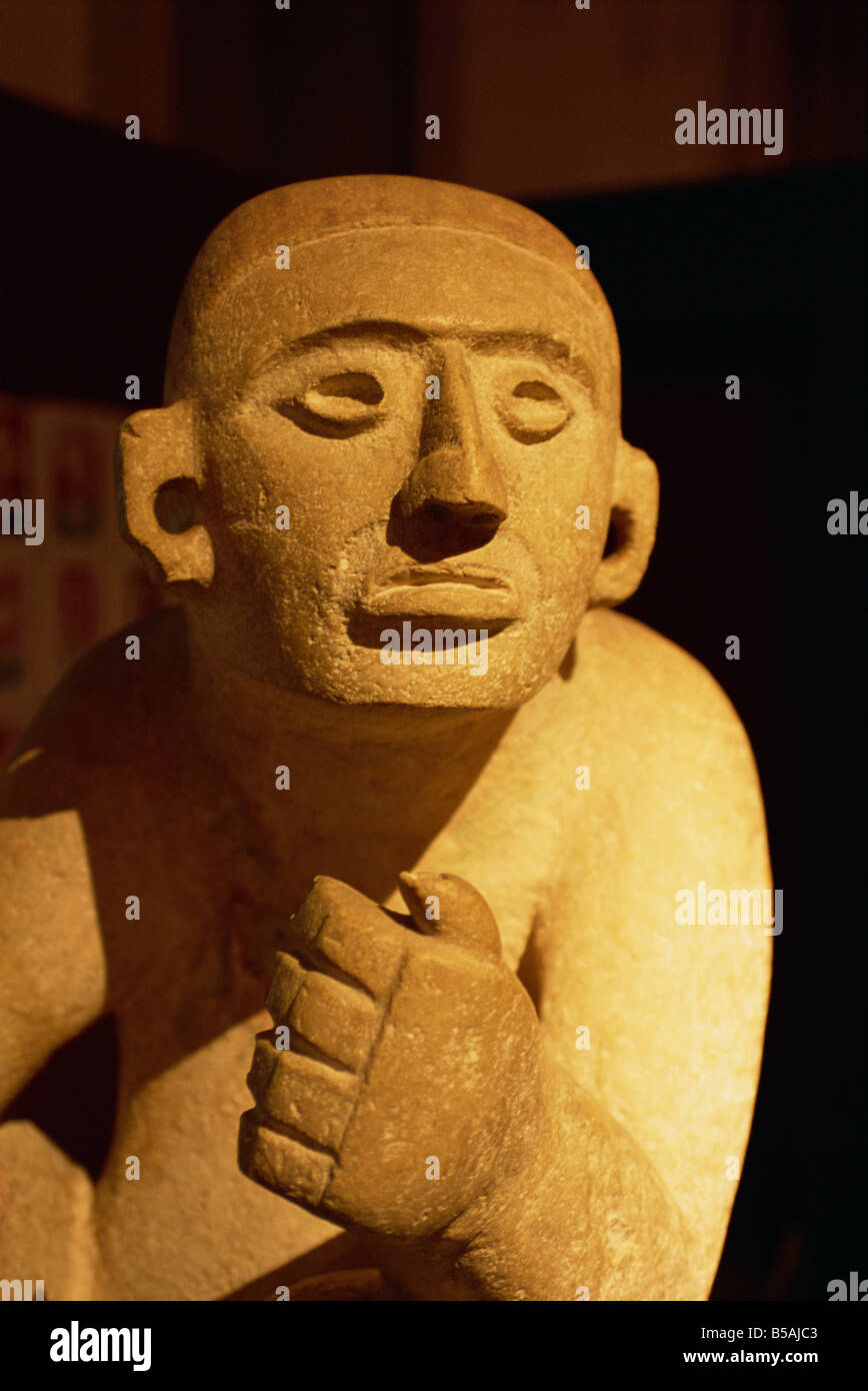 Pre-Columbian statue, Museum of Anthropology and History, Merida, Yucatan, Mexico, North America - Stock Image