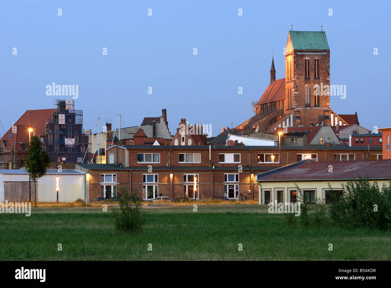 Cityscape with St. Nikolai's Church in Wismar, Germany - Stock Image