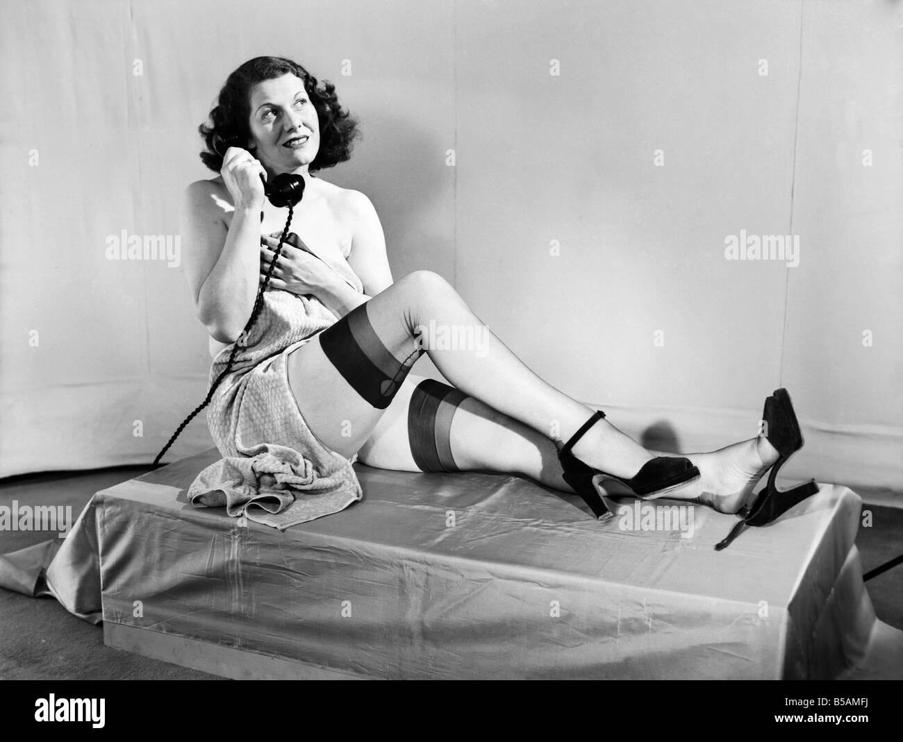 Ladies Wearing Stockings And Suspenders